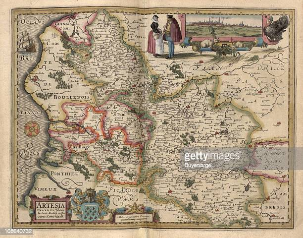Color illustration shows a map of the northern regions of France and its border with Belgium with an inset image of the town of Arras France 1622 The...