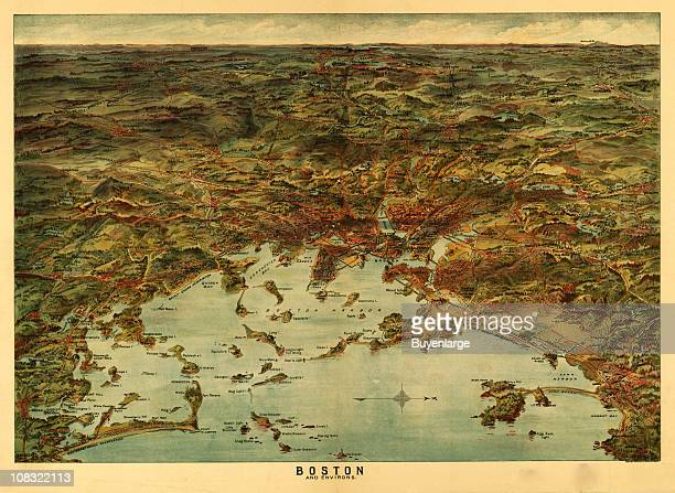 Color illustration shows an elevated 'bird's eye' view of Boston Harbor and its surrounding environs 1905