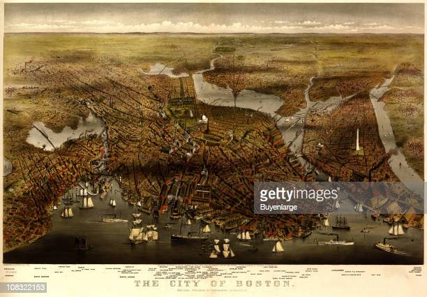 Color illustration shows an elevated 'bird's eye' view of Boston Harbor and its environs 1873