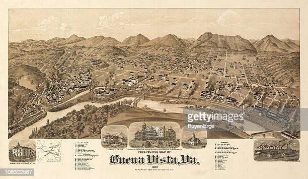 Color illustration shows an elevated 'bird's eye' view of Buena Vista Virginia and highlights various notable city buildings 1891