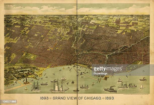 Color illustration shows an elevated 'bird's eye' view of Chicago Illinois and Lake Michigan 1892