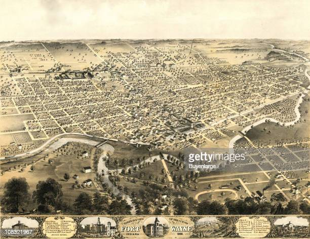 Color illustration shows an elevated 'bird's eye' view of Fort Wayne Indiana 1868