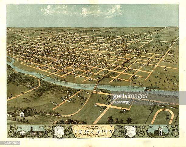 Color illustration shows an elevated, 'bird's eye' view of Iowa City, Iowa and the Iowa River, 1868.