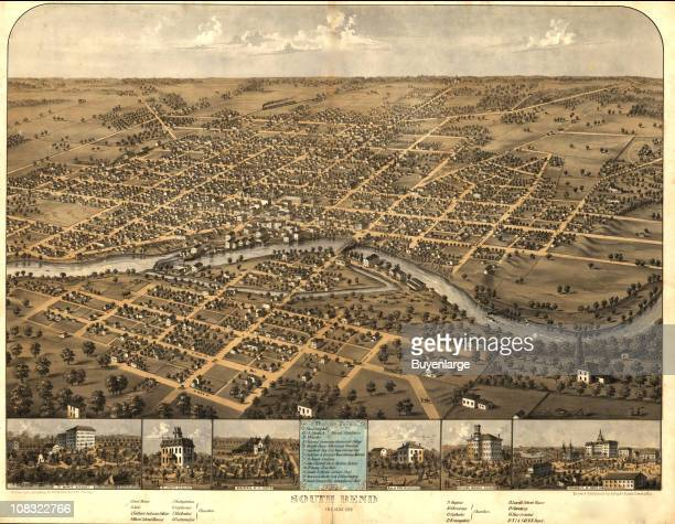Color illustration shows an elevated, 'bird's eye' view of South Bend, Indiana and highlights various, notable city buildings, 1866.