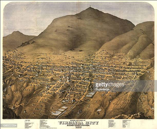 Color illustration shows an elevated 'bird's eye' view of the mining boom town of Virginia City Nevada 1875