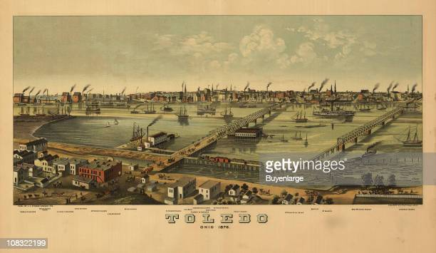 Color illustration shows an elevated 'bird's eye' view of Toledo Ohio 1876