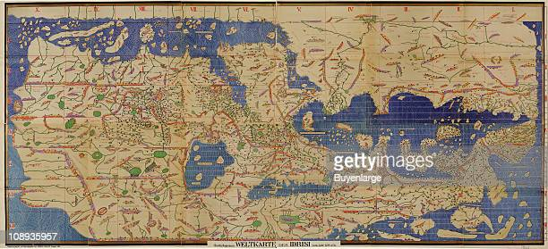 Color illustration shows an inverted view of the Mediterranean Sea Europe North Africa and much of Asia with all the place names in anglicized Arabic...