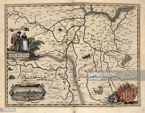 Color illustration shows the Belgian province of Antwerp with a small inset illustraion of the city of Mehlinia also known as Mechelen or Malines...