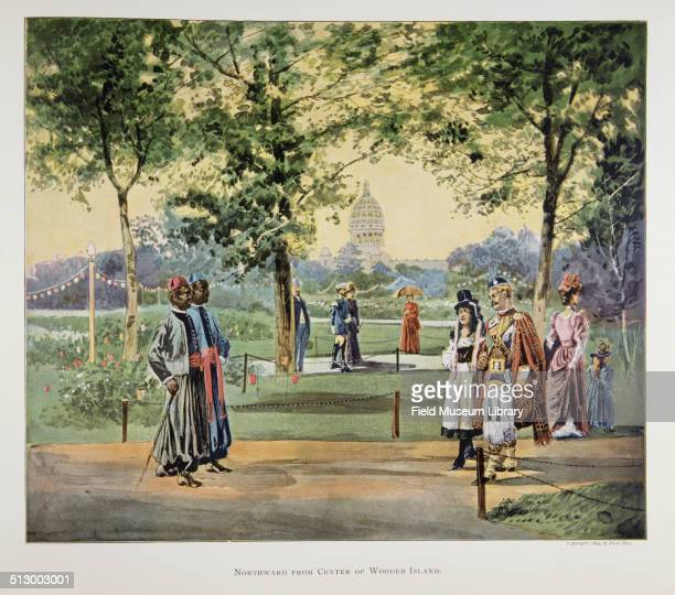 Color illustration titled 'Northward From Center of Wooded Island' showing various people in national and traditional costumes September 23 2010 From...