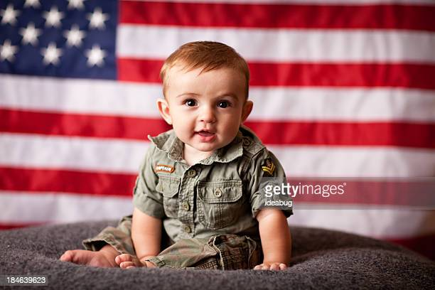 Color Image of Patriotic Baby Boy with American Flag Background