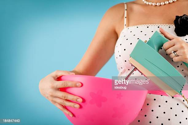 Color Image of Retro Gal Holding a Vintage Electric Mixer