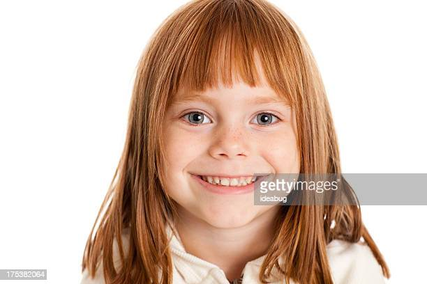 color image of smiling little girl, isolated on white - redhead girl stock photos and pictures