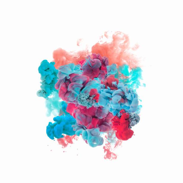 彩色墨水在水中 - 彩色影像 個照片及圖片檔