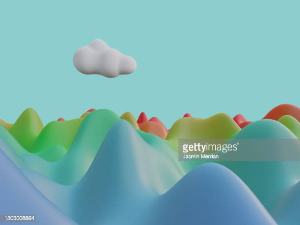 color landscape, gradient hills and cloud - pattern stock pictures, royalty-free photos & images