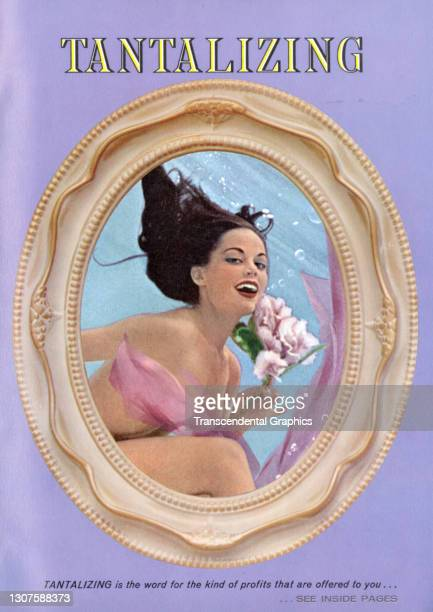 Color layout depicts a model, seen in a cameo frame, as she holds a bouquet of flowers under the word 'Tantalizing,' 1930.