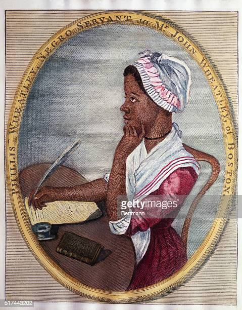 Color line cut illustration of American poet Phyllis Wheatley seated at her desk with a dreamy look in her eye Undated illustration