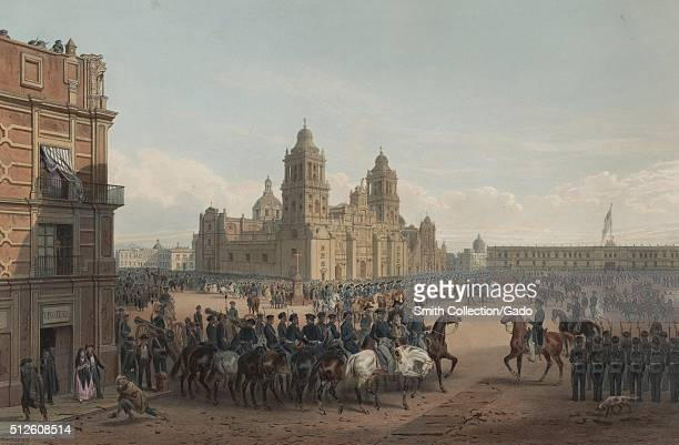 Color lithograph by Carl Nebel of General Winfield Scott leading his forces into Mexico City, an event which marked the final blow in the...