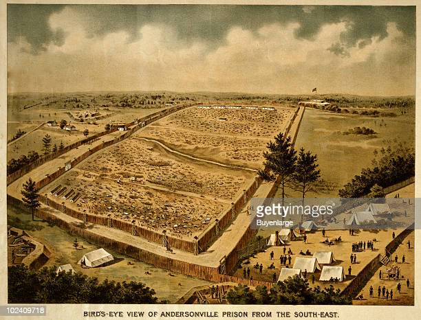 Color lithograph depicting a bird'seye view of Andersonville Prison a Confederate Civil War prisoner of war camp taken from the southeast Georgia 1890
