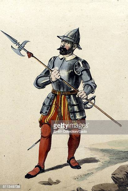 A color lithograph depicting a man in Spanish military uniform he is a Sergeant who wears armor on his upper body and and a helmet he carries a...