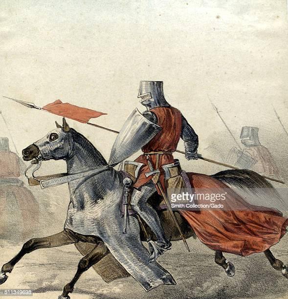 Color lithograph depicting a Spanish Hombre de Armas from 1300 on horseback both in full armor from the book Album de la Caballería Española by...