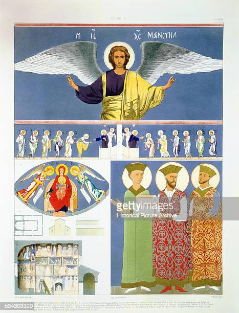 Color Lithograph Depicting Fresco Paintings from the Orthodox Church of Nekrssi by Pinque