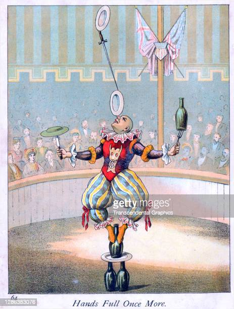Color lithograph , entitled 'Hands Full Once More', depicts a circus juggler during his balancing act, 1882. It originally appeared in the book 'The...