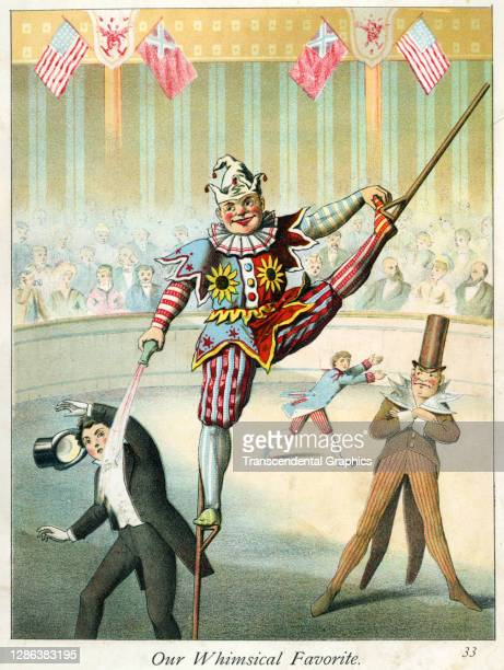 Color lithograph , entitled 'Our Whimsical Favorite', depicts a circus clown on stilts as he pours a liquid on a well-dressed man, 1882. It...