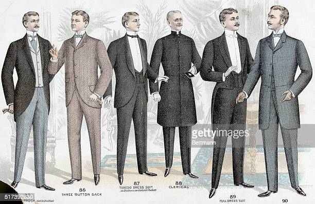 Color lithograph illustration shows: a long roll frock ; a three button sack; a tuxedo dress suit ; a clerical suit; a full dress suit; and a...