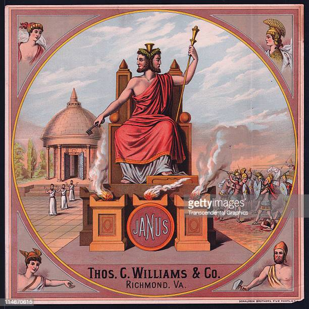 Color lithograph label for Janus tobacco from Thos Williams company of Rochester New York c1875