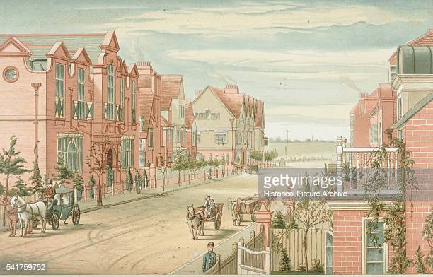 Color lithograph of Bedford Park, London by T. Erat Harrison.