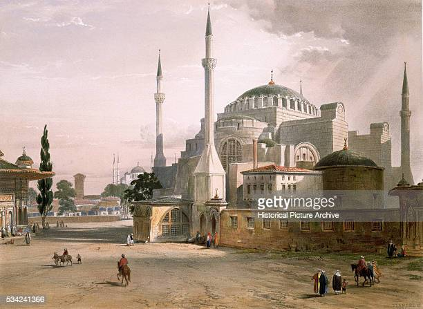 A color lithograph of Hagia Sophia in Constantinople by Lovis Haghe from an original drawing by Chevalier Caspar Fussati