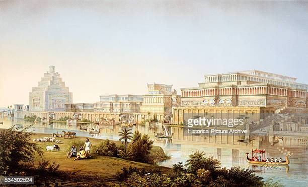 Color Lithograph of the Palace Complex at Nimrud by Louis Gruner after James Ferguson