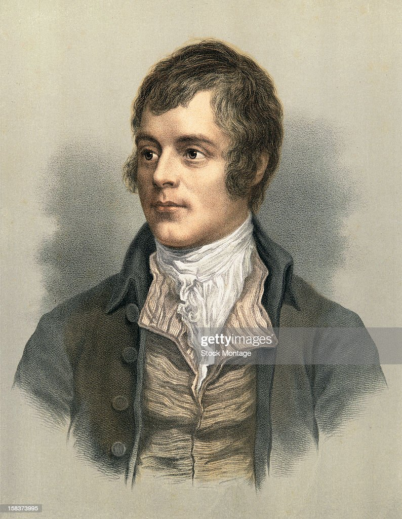 Color lithograph portrait of Scottish poet Robert Burns (1759 - 1796), late 18th century.