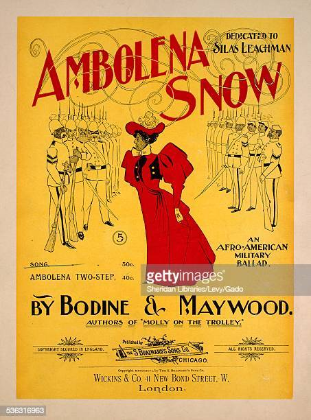 Color lithograph sheet music cover image of 'Ambolena Snow An Afro-American Military Ballad' by Bodine, Maywood, Lester Bodine and Geo Maywood,...