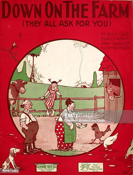 Color lithograph sheet music cover image of 'Down on the Farm ' by Billy Dale and Charles Parrott with lithographic or engraving notes reading...