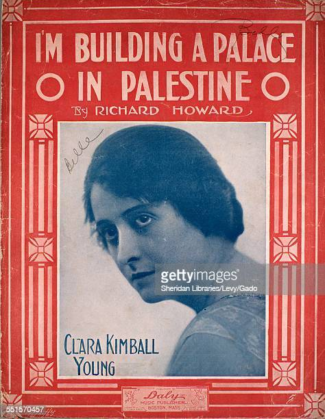 Color lithograph sheet music cover image of 'I'm Building a Palace O in Palestne O' by Richard Howard with lithographic or engraving notes reading...