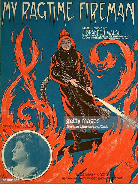Color lithograph sheet music cover image of 'My Ragtime Fireman' by J Brandon Walsh with lithographic or engraving notes reading 'De Takals unattrib...