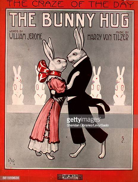 Color lithograph sheet music cover image of 'The Bunny Hug The Craze of the Day' by William Jerome and Harry Von Tilzer with lithographic or...