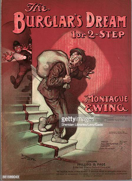 Color lithograph sheet music cover image of 'The Burglar's Dream 1 or 2Step' by Montague Ewing with lithographic or engraving notes reading 'W...