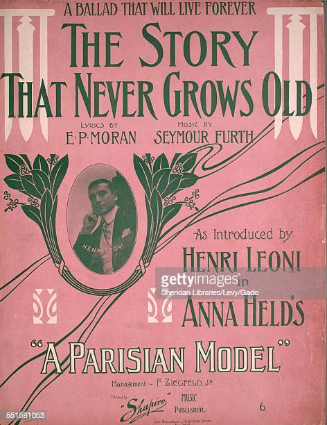 Color lithograph sheet music cover image of 'The Story That Never Grows Old A Ballad That Will Live Forever' by E P Moran and Seymour Furth, with...