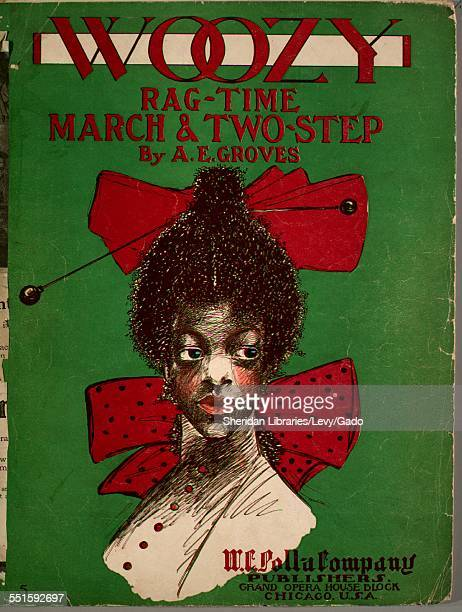 Color lithograph sheet music cover image of 'Woozy RagTime March TwoStep' by A E Groves with lithographic or engraving notes reading 'Nelson Talbot...