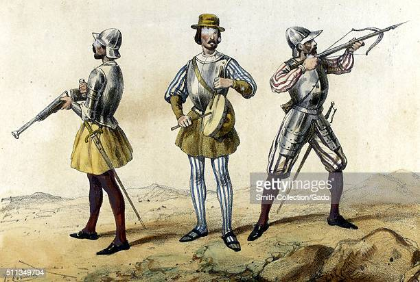 A color lithograph that depicts three different members of the Spanish military as they would have appeared in 1505 the soldier on the left carries a...