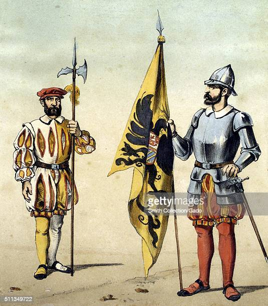 A color lithograph that depicts two men in uniform the man on the left is a Guardia Alemana was a soldier tasked with protecting the Spanish King...
