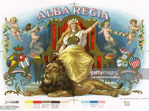 A color lithographed Victorian cigar box label for Alba Regia brand with an elaborate throne room scene New York New York circa 1880