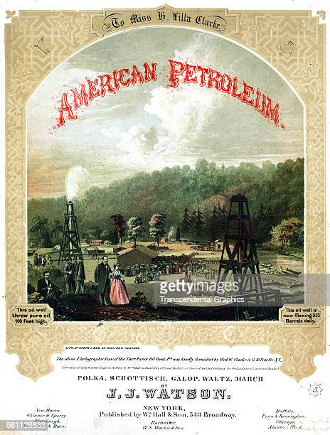 A color lithographed Victorian era sheet music cover to promote the discovery of petroleum New York New York 1864
