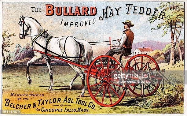 A color lithographed Victorian era trade card designed to promote a farm machine Chicopee Falls Massachusetts circa 1880