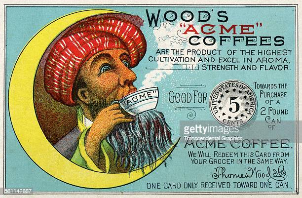 A color lithographed Victorian era trade card using the image of a Turk drinking coffee to sell the 'Acme' brand New York New York circa 1885