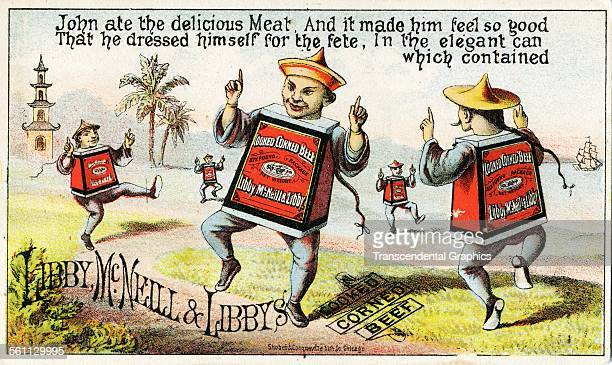 A color lithographed Victorian era trade card with cartoon dancing tins of meat with Chinese features Chicago Illinois circa 1880
