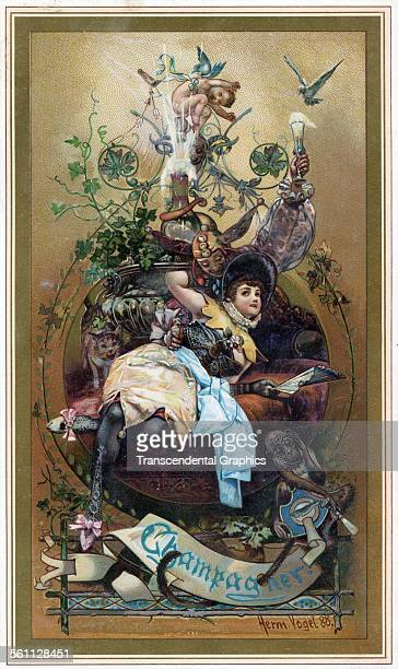A color lithographed Victorian era trade sign promoting the wine industry by Herman Vogel France 1888