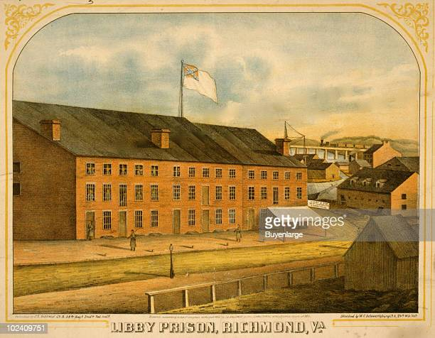 Color lithographic illustration showing an exterior view of the Libby Prison a Confederate prison in Richmond Va 1865 Sketched by WC Schwartzburg the...